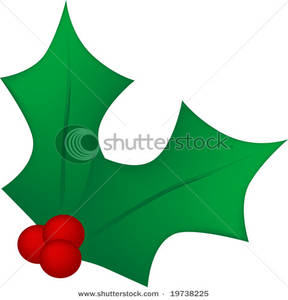 Two Holly Leaves with Three Red Berries - Clipart