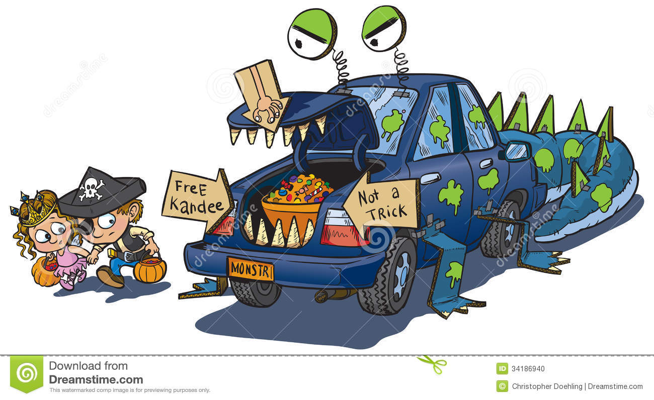 Two Kids Trunk Or Treat On Halloween Cli-Two Kids Trunk or Treat on Halloween Clip Art-19