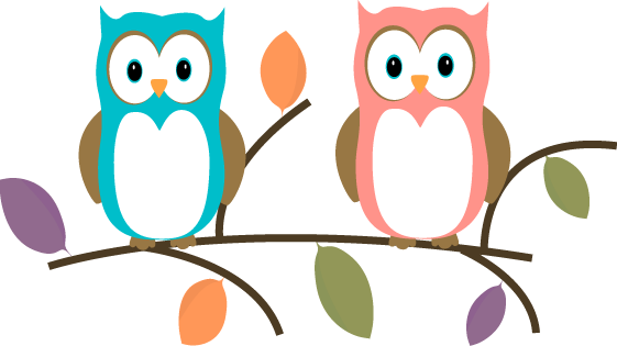 Two Owls Sitting On A Tree .-Two Owls Sitting on a Tree .-17