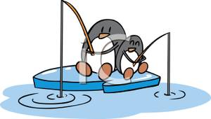 Two Penguins Ice Fishing .