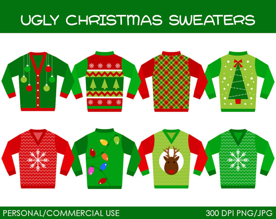 Ugly Christmas Sweaters Clipa - Ugly Christmas Sweater Clipart