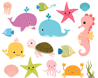 Under The Sea Clipart, Sea Animal Clip A-Under the sea clipart, Sea animal clip art, Seahorse fish turtle clip art, Ocean animal clipart, Octopus jellyfish clipart, Commercial use-16