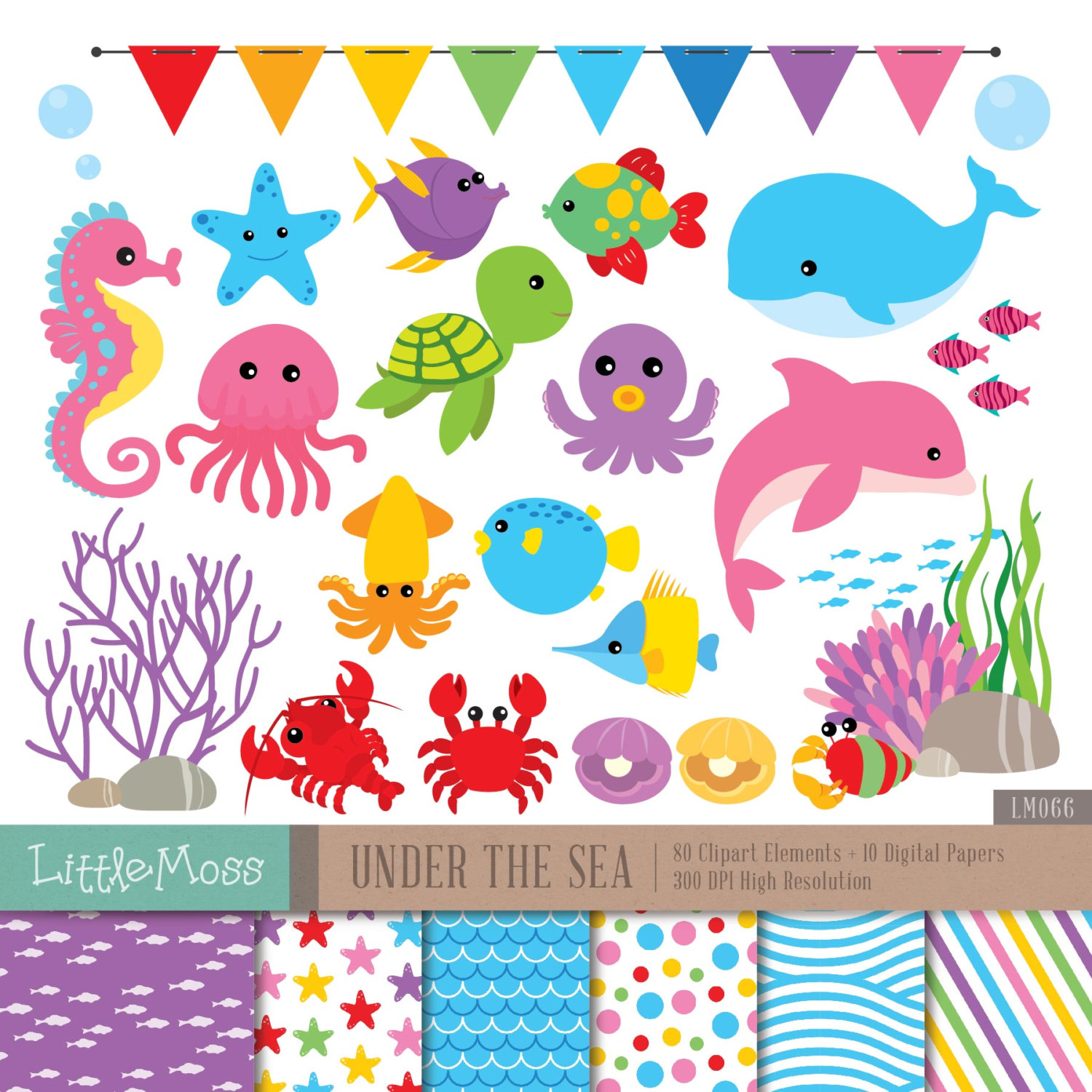 Under The Sea Digital Clipart and Papers, Sea Animals Clipart, Sea Horse, Dolphin, Whale, Turtle, Octopus, Starfish Clipart