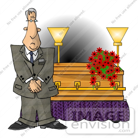 #14757 Mortician Man Standing by a Coffin Clipart by DJArt