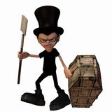 Undertaker 2. An undertaker dragging a coffin and carrying a shovel Royalty  Free Stock Photo