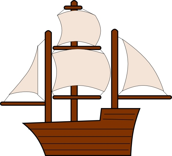 Unfurled Sailing Ship clip art