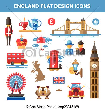 Set of flat design England travel icons, infographics elements with  landmarks and famous London,
