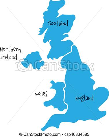 United Kingdom, Aka Uk, Of Great Britain And Northern Ireland Hand-Drawn  Blank Map. Divided To Four
