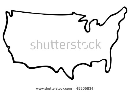 cartoon vector outline illustration United States map