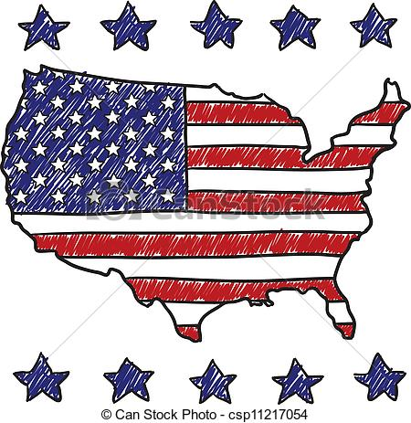 Patriotic map of the United S - United States Clipart
