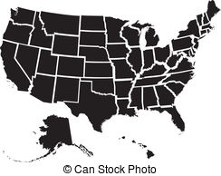 United States Map - Very deta - United States Clipart