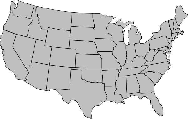 United States Of America Map Outline Gray Clip Art At Clker Com