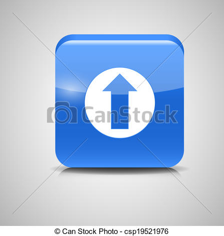 Glass Upload Button Icon Vector Illustration