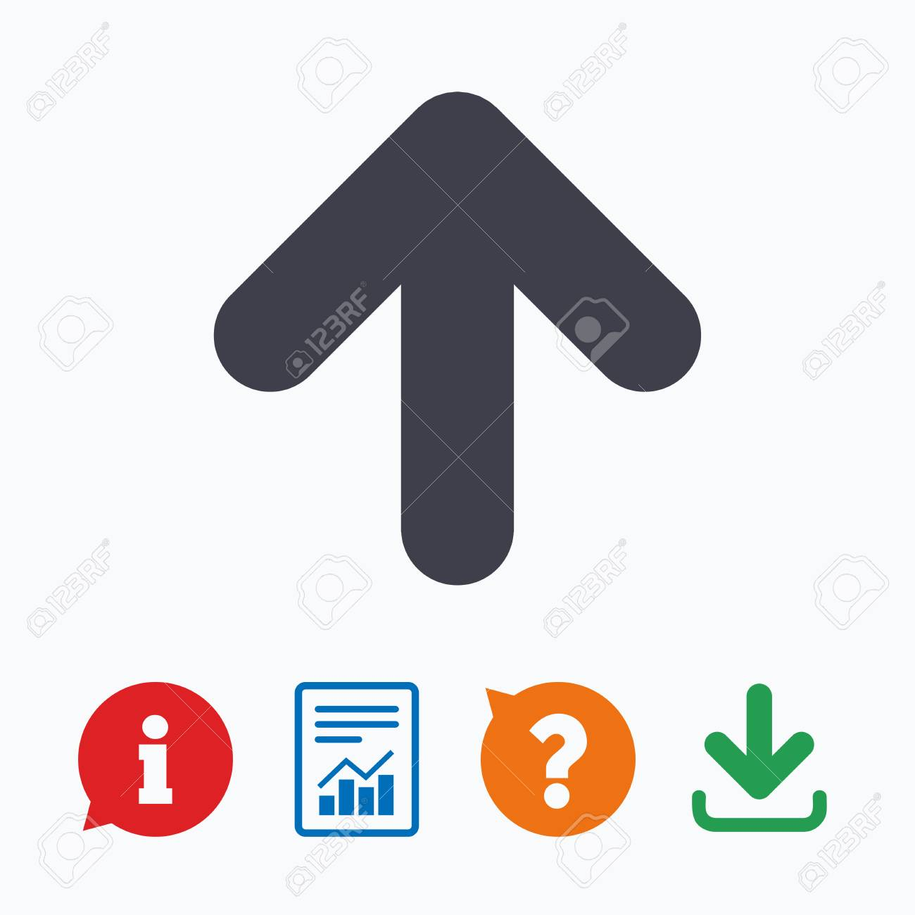 Upload sign icon. Upload button. Load symbol. Information think bubble,  question mark