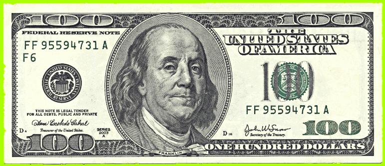 Us Hundred Dollar Bill Public Domain Clip Art Image