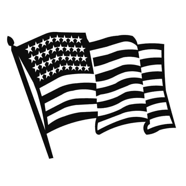 Usa flag clip art black and .