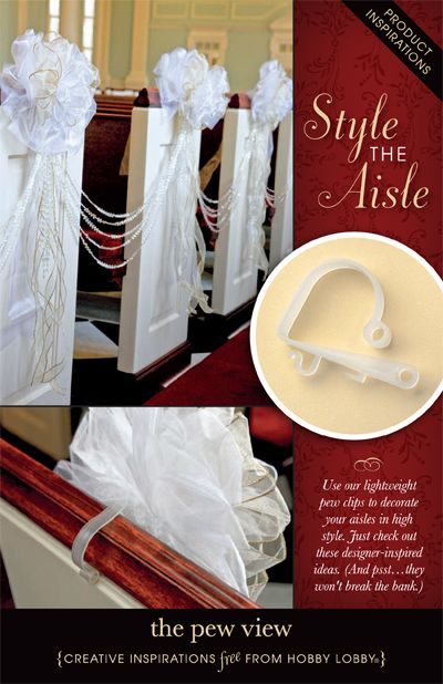 Use our lightweight pew clips to decorate your aisles in high style. Just check out