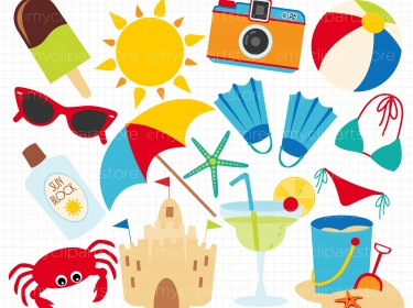 Clipart - Summer Beach Vacati - Vacation Clipart