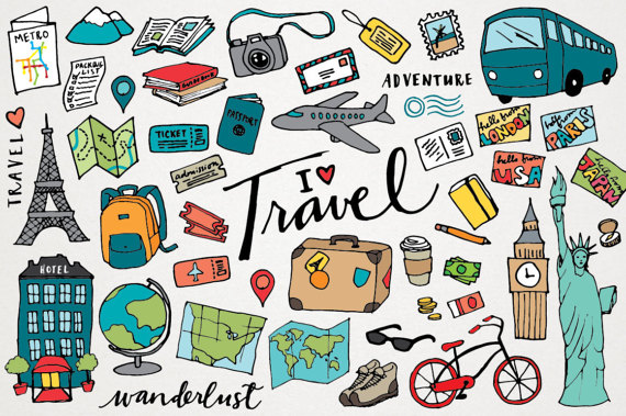 Travel Clipart - hand drawn i - Vacation Clipart