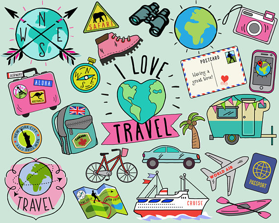 Travel Clipart, summer clipart, bullet journal stickers, travel clip art,  summer clip art, summer travel clipart, vacation clipart