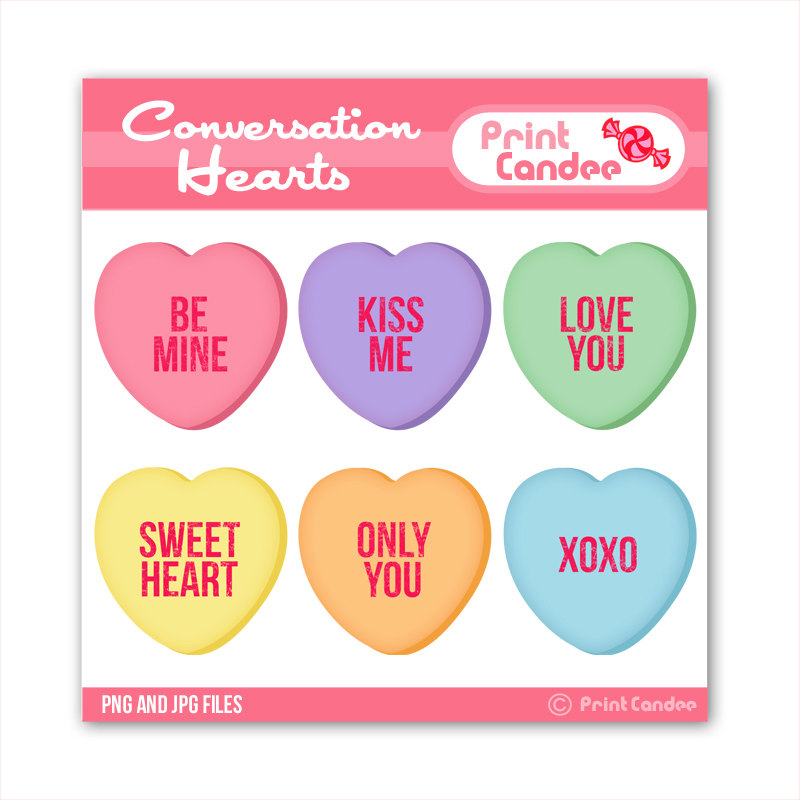 Valentines Conversation Hearts - Digital-Valentines Conversation Hearts - Digital Clip Art - Personal and Commercial Use - valentines day candy hearts-18