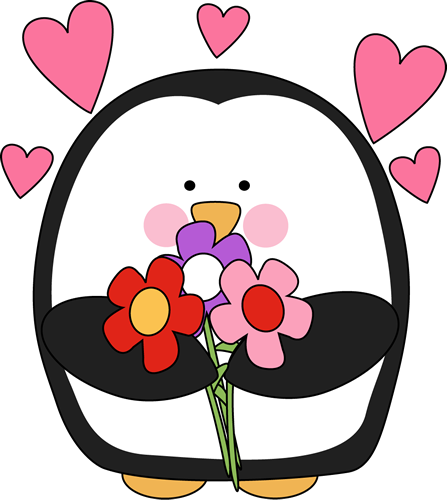 Valentineu0027s Day Penguin with Flowers