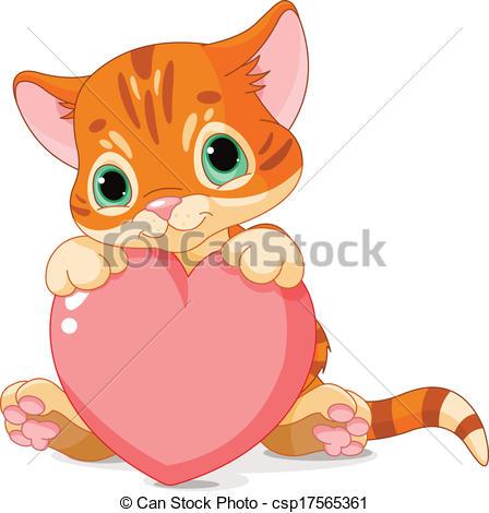 ... Valentines Day Kitten - Cute Little -... Valentines Day Kitten - Cute little kitten holding Love.-19