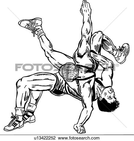 ValueClips Clip Art RF Royalty Free. wrestle, wrestler, wrestlers, wrestling, sport, sports, illustration