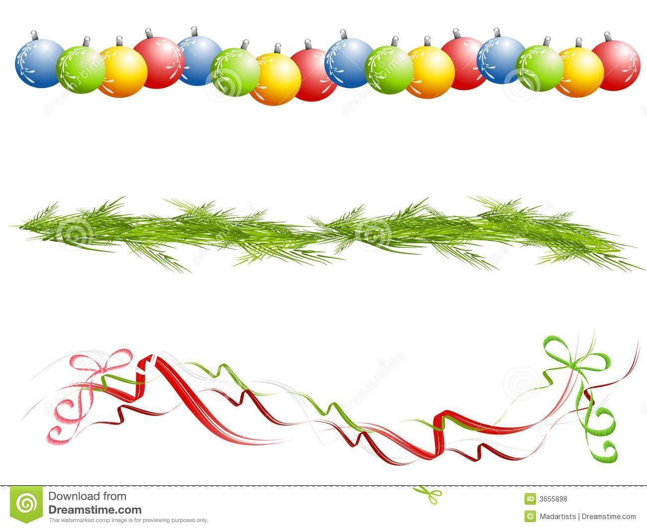 Various Isolated Christmas Borders Royalty Free Stock Photos Image