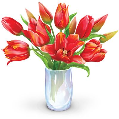 Vase Of Flowers Clip Art | Flower Bouquet Clipart, Dozen Tulips Vase Illustration | Just
