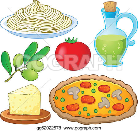 Vector Art - Italian food collection 1 - vector illustration. Clipart Drawing gg62022578