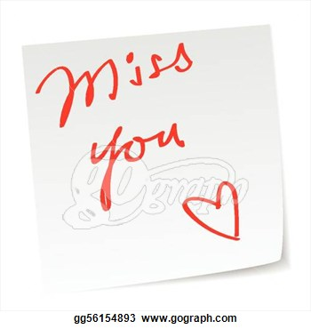 Vector Art Love Note With Miss You Messa-Vector Art Love Note With Miss You Message Clipart Drawing-14