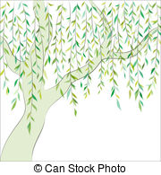 Vector background - Willow tree.