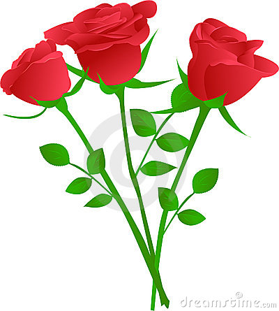 Vector Bouquet Of Red Roses.-Vector Bouquet Of Red Roses.-11