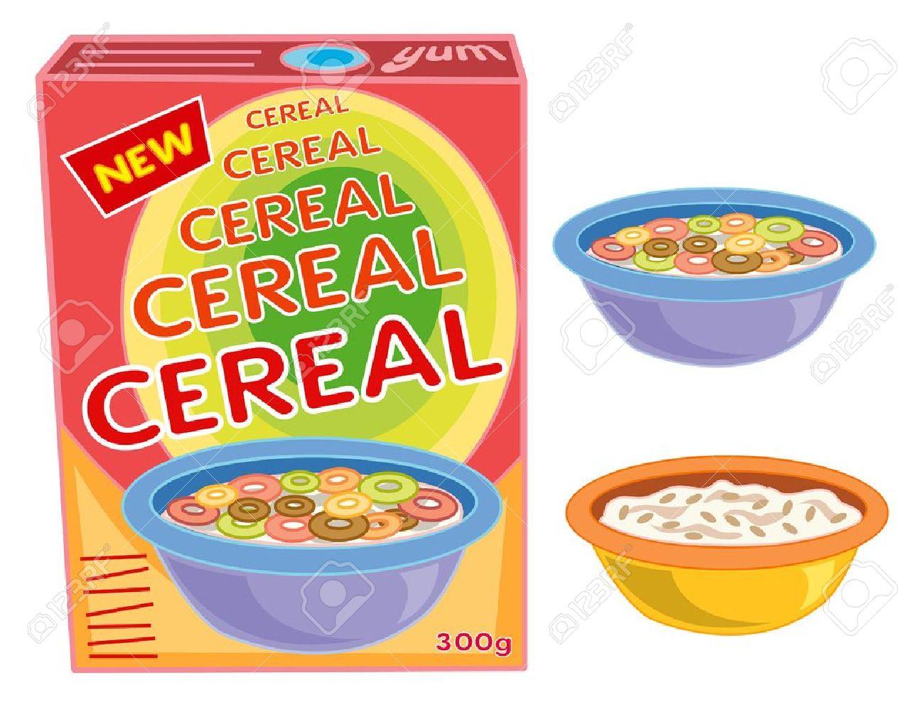 Vector - breakfast cereal box, bowl and porridge