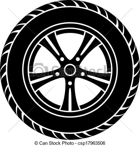 ... vector car wheel black white symbol