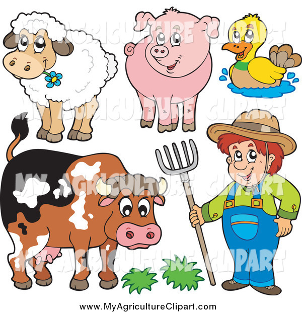 Vector Cartoon Agriculture Clipart of a Male Farmer and His Livestock  Animals