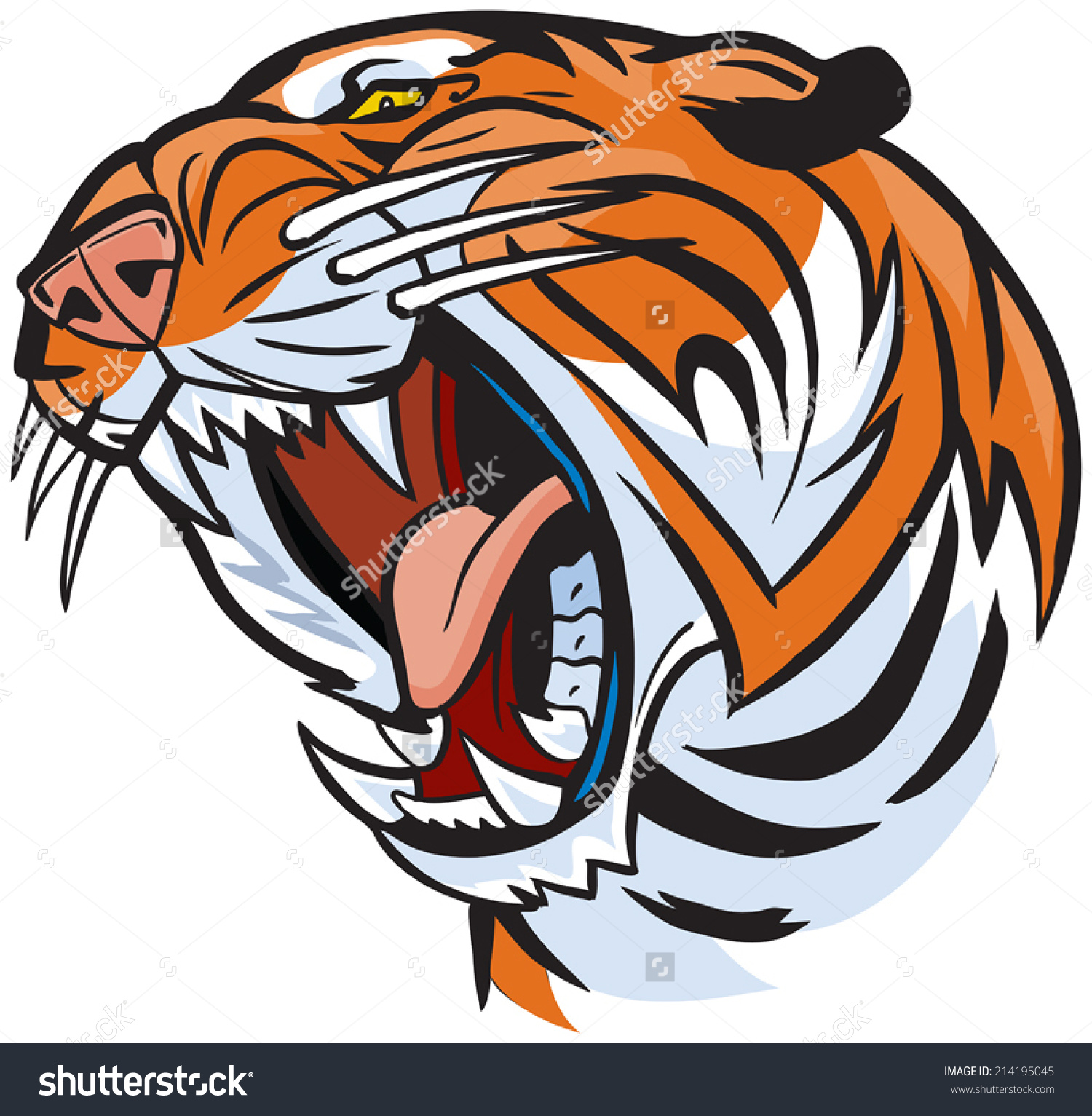 Vector Cartoon Clip Art Illustration of a roaring tiger head.