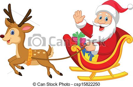 Vector Cartoon Santa Drives His Sleigh Stock Illustration Royalty