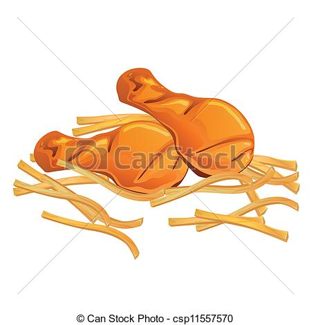 ... Vector Chicken Wings and French Fries - Vector Illustration.