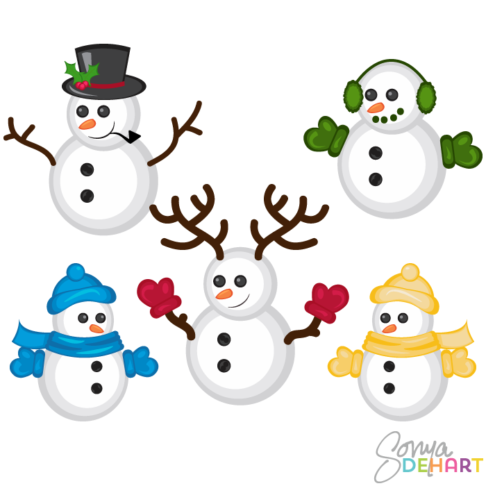 Vector Clip Art Christmas Snowmen-Vector Clip Art Christmas Snowmen-18