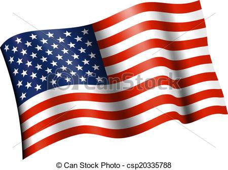 Vector Clip Art Vectorby khvost0/2; American Flag Flat Waving
