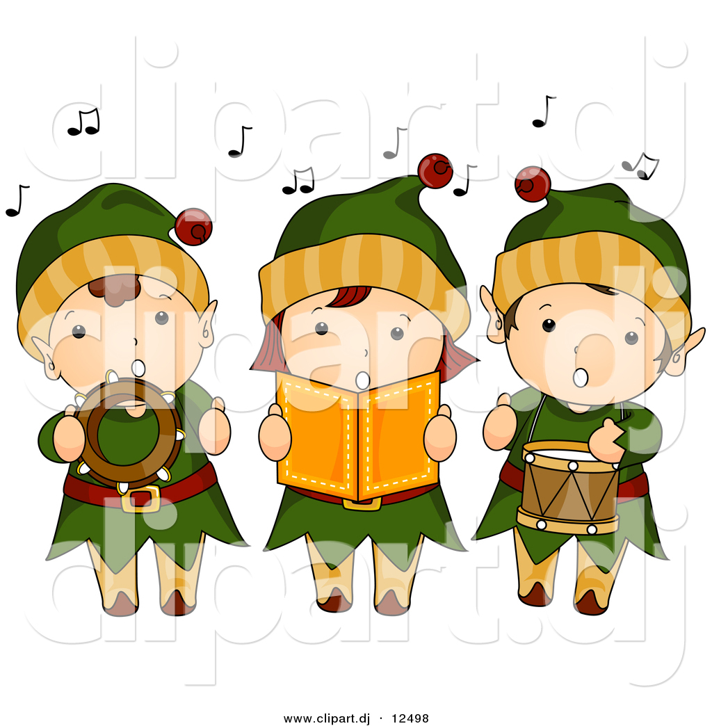 Vector Clipart Of Cartoon Kids Singing C-Vector Clipart Of Cartoon Kids Singing Christmas Music While Dressed-17