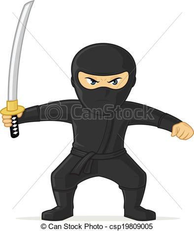 Vector Clipart Of Ninja Angry Black Ninja With Katana Sword Vector
