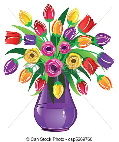 Vector Clipart Of Spring Flowers Vase Fu-Vector Clipart Of Spring Flowers Vase Full Of Tulips Isolated On-4