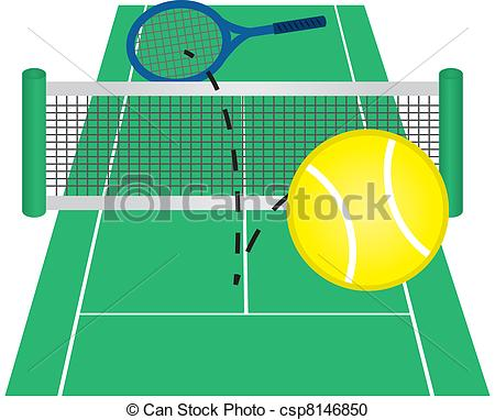 Vector Clipart Of Tennis Cour - Tennis Court Clipart