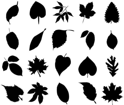 vector collection of leaf silhouettes-vector collection of leaf silhouettes-15