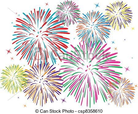 ... vector colorful fireworks on white background