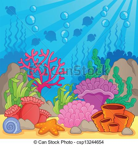 Vector Coral Reef Theme Image - Coral Reef Clipart