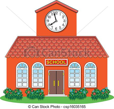vector country school building - vector illustration of.